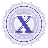 Ornements géométriques de vecteur Rosettes de guilloche avec la lettre X Images stock