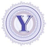 Ornements géométriques de vecteur Rosettes de guilloche avec la lettre Y Photo stock