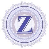 Ornements géométriques de vecteur Rosettes de guilloche avec la lettre Z Image libre de droits