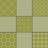 Ornements géométriques de vert olive Ramassage de configurations sans joint Photos stock