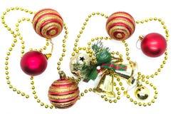 Ornements lumineux de Noël en composition photo stock