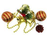 Ornements lumineux de Noël en composition images libres de droits