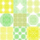 Ornements marocains de tuiles dans des couleurs bleues et blanches Tapotement de patchwork Photos stock