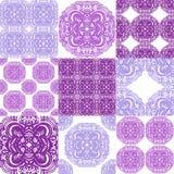 Ornements marocains de tuiles dans des couleurs bleues et blanches Tapotement de patchwork Photos libres de droits