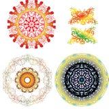 Ornements ronds de dentelle et éléments décoratifs Photos stock