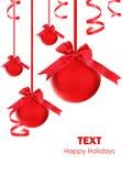 Ornements rouges d'arbre de Noël de babioles Photos stock