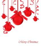 Ornements rouges d'arbre de Noël de babioles Images libres de droits