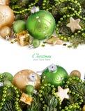 Ornements verts et d'or de Noël Image libre de droits