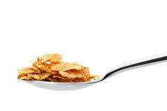 Сornflakes. A dry breakfast in a spoon. Stock Photo