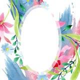 Orni il rosa ed i fiori botanici floreali blu Insieme dell'illustrazione del fondo dell'acquerello Quadrato dell'ornamento del co illustrazione di stock