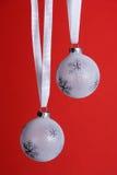 Orniments do Natal branco Imagens de Stock