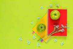 Ornithogalum y cuadernos rojos y amarillos, manzanas verdes Imágenes de archivo libres de regalías