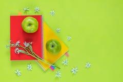 Ornithogalum y cuadernos rojos y amarillos, manzanas verdes Fotos de archivo