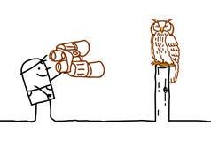 Ornitologist u. Eule Stockfoto