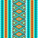 Ethnic seamless geometric pattern. A colorful ornament of stripes on a white background. Vector illustration. royalty free illustration