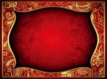 Oro abstracto y fondo floral rojo del marco Imagen de archivo libre de regalías