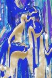 Oro abstracto y pintura azul Imagen de archivo libre de regalías