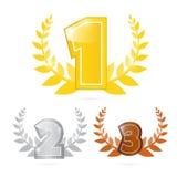 Oro, argento, bronzo - in primo luogo, secondo e terzo posto Immagini Stock Libere da Diritti