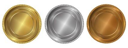 Oro, argento e guarnizioni o medaglie del bronzo Fotografia Stock