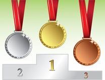 Oro, argento e medaglia di bronzo Fotografie Stock