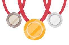 Oro, argento e medaglia di bronzo Medaglia d'oro sui precedenti bianchi Medaglia di oro isolata Illustrazione Vettoriale
