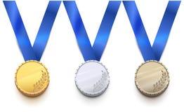 Oro, argento e medaglia di bronzo per il gioco degli sport invernali illustrazione di stock