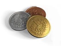 Oro, argento e medaglie di bronzo Fotografie Stock Libere da Diritti