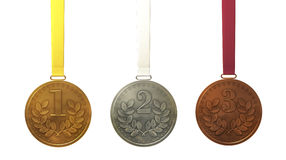 Oro, argento e medaglie di bronzo Fotografia Stock