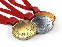 Oro, argento e medaglie di bronzo Immagine Stock Libera da Diritti