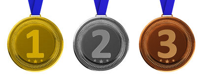 Oro, argento e medaglie di bronzo Immagine Stock