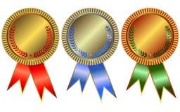 Oro, argento e medaglie di bronzo Royalty Illustrazione gratis