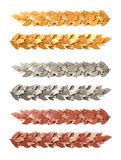 Oro, argento e striscia decorativa bronzea dei rami dell'alloro Fotografia Stock Libera da Diritti