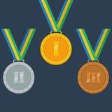 Oro, argento, medaglie di bronzo Immagine Stock Libera da Diritti