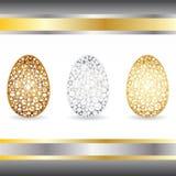 Oro, argento, uova bronzee Immagini Stock Libere da Diritti