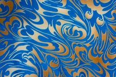 Oro astratto e struttura senza cuciture floreale blu Immagine Stock