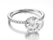 oro blanco del ejemplo 3D o anillo de compromiso de la plata con el diamon Fotografía de archivo libre de regalías