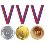 Oro, bronce y plata Imagen de archivo libre de regalías