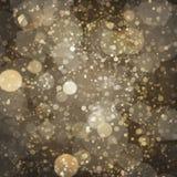 Oro bronzeo Champagne Bokeh Pattern Design di buio Fotografie Stock Libere da Diritti