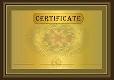Oro Brown del certificado Imágenes de archivo libres de regalías