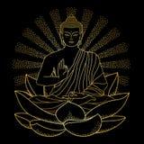 Oro Buddha che si siede su Lotus con il fascio luminoso illustrazione vettoriale