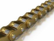 Oro - catena della bicicletta Fotografia Stock Libera da Diritti