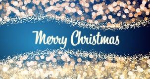 Oro chispeante y luces de plata de Navidad con el mensaje del saludo de la Feliz Navidad en el fondo rojo, nieve, luces brillante imágenes de archivo libres de regalías