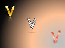 Oro, colori in bianco e nero e arancio con la lettera V Immagine Stock