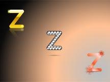 Oro, colori in bianco e nero e arancio con la lettera Z Immagine Stock