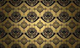 Oro con l'ornamento nero Fotografia Stock Libera da Diritti