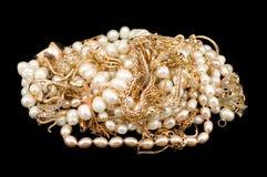 Oro con le perle Fotografia Stock Libera da Diritti