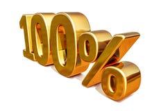 oro 3d muestra del descuento del 100 cientos por ciento Foto de archivo libre de regalías
