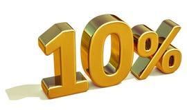 oro 3d muestra del descuento del 10 diez por ciento Imagen de archivo