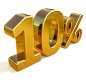 oro 3d muestra del descuento del 10 diez por ciento Fotos de archivo libres de regalías