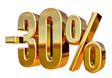oro 3d muestra del descuento del 30 por ciento Foto de archivo libre de regalías
